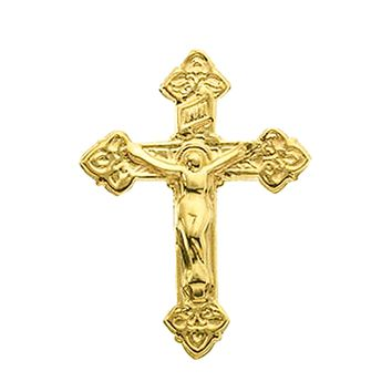 Crucifix Gold Fleur De Lis 14k Yellow Gold pin brooch