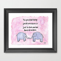 purple elephant love mantra quote watercolor illustration painting