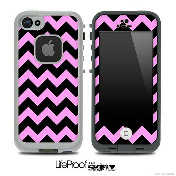 Hot Pink and Black V2 Chevron Pattern Skin for the iPhone 5 or 4/4s LifeProof Case