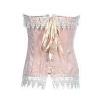 Topwedding Women's Floral Lace Trim Boned Victorian Corset With Thong Panty
