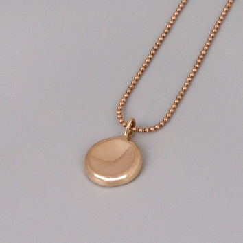 Solid Rose Gold Pebble Necklace - Handmade Solid 14k Rose Gold Jewelry