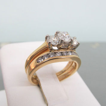 Three Stone Diamond Engagement Ring Diamond Wedding Band 14k Yellow Gold Wedding Set Past Present Future Ring Size 5.5