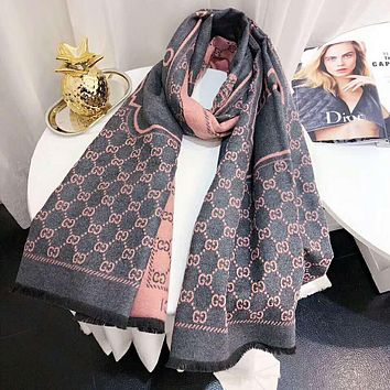 GUCCI Trending Women Men Stylish Cashmere Cape Scarf Scarves Shawl Accessories Grey