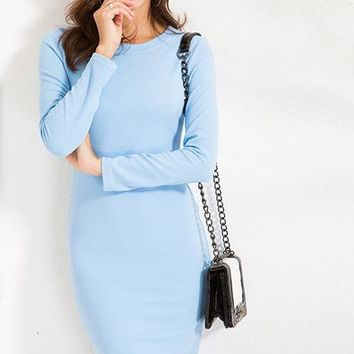 Casual Solid Texture Thick Fabric Basic Midi Dress For Women