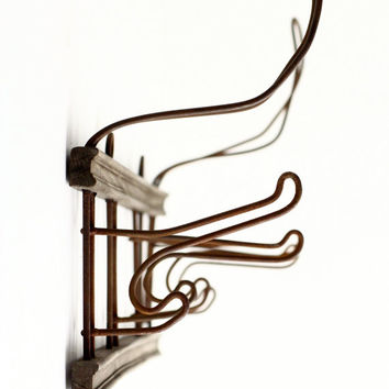 Vintage French Coat Rack - Wire Hooks