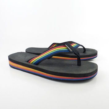 1980s Flip Flops Vintage Sandals Rainbow Thongs Thick Foam Stripe Daimatu