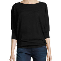 Aislina 3/4-Sleeve Ribbed Top, Black, Size: