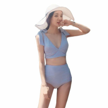 Summer Plunge Bikini High Waist Biquini 2017 Newest Women Swimsuits Sexy Swimwear Knot Shoulder Blue Beach Swim Bathing Suit