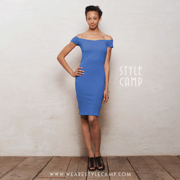 Bardot Off-Shoulder Bodycon Dress with Scoop Back Cut Out in Deep Blue