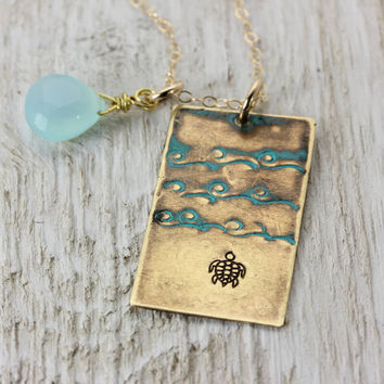The Journey Necklace - Sea Turtle - Handmade Brass Pendant - Inspirational - Gift Idea - Ocean Beach - Christina Guenther