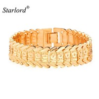 Starlord Hot Sale Big Chain Link Bracelet &Flower Pattern 17mm Width Fashion Gold Color Bracelet 20CM For Women Accessories H424