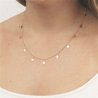 Sexy Collar Necklace Star Heart Pendant gold-color Choker Necklaces Fashion collares Jewelry Body Chain colar For Women XL7028