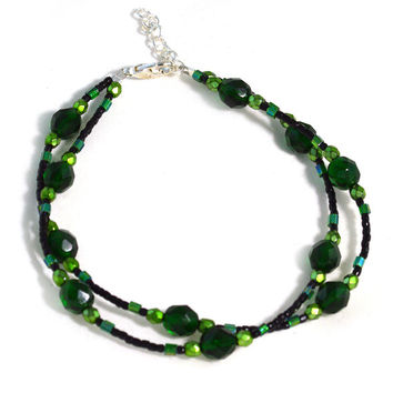Emerald Isle Anklet Boho Jewelry in Green and Black