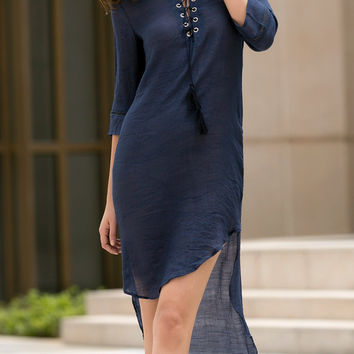 3/4 Sleeve Plunging Neck High-Low Hem Lace-Up Dress