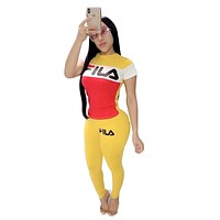 FILA 2019 new female color matching letter printing sports suit two-piece Yellow