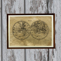Antique world map print Old looking Antiqued decoration 8.3 x 11.7 inches