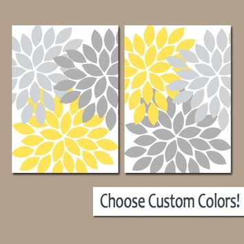YELLOW GRAY WALL Art, Canvas or Prints, Yellow Gray Bathroom Decor, Bedroom Wall Decor, Yellow Gray Nursery, Flower Burst Petals, Set of 2