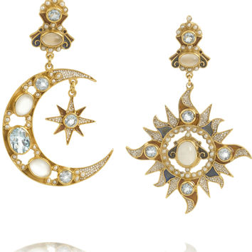 Percossi Papi - Sun and Moon gold-plated multi-stone earrings