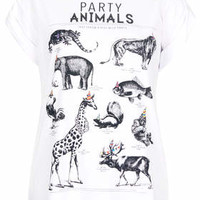 Animals Tee by Tee and Cake - White