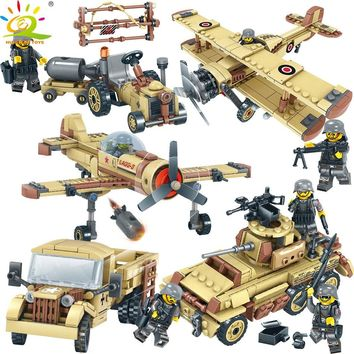 HUIQIBAO TOYS Army WW2 Combat Troops Building Blocks Compatible Legoed Military Trucks helicopter Tank Bricks For Children Boy