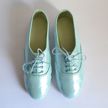 Mint green holographic oil effect vegan faux leather pony oxford shoes (Handmade to order)