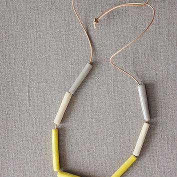 Handmade ceramic long beads - strand necklace - yellow, cream and gray - beadwork on thin leather cord