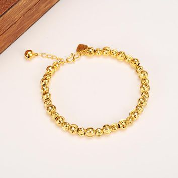21cm cute girls Bangle Women Gold Round Beads Bracelets Ethiopian Jewelry African Hand Chain Arab Items kids jewelry best gift