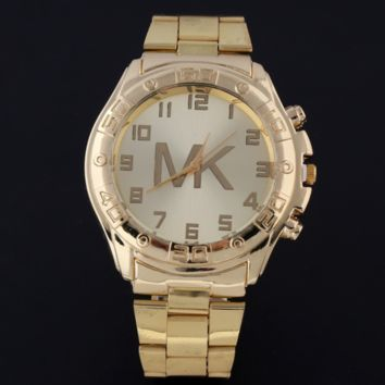 MK MICHAEL KORS New Simple Watch Stylish Stainless Steel Strap Digital Scale Watch F0224-1 Gold Watchband+ Gold Strap + White Dial