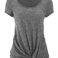 short sleeve tee with knot bottom in charcoal