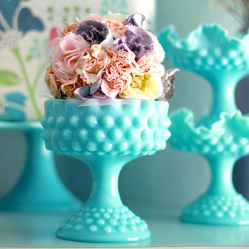 Turquoise Blue Milk Glass Pedestal / Aqua Hobnail Compote / Candy Dish Bowl Pedestal / Candy Dish Stand Wedding Dessert Buffet Bar Candy Bar
