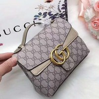 GUCCI 2018 counter new trend fashionable women's exquisite handbag F-AGG-CZDL Apricot