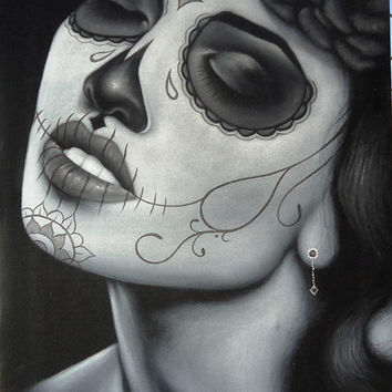 Mexican catrina skull girl black velvet oil painting handpainted signed art No.6