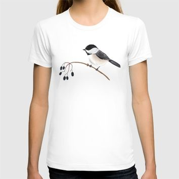 Winter Chickadee T-shirt by 13sparrows