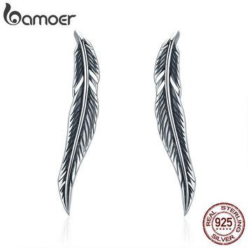 BAMOER Authentic 925 Sterling Silver Vintage Feather Wings Cuff Drop Earrings for Women Sterling Silver Earrings Jewelry SCE258