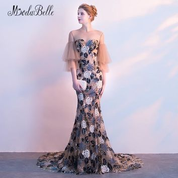 modabelle Flowers Mermaid Prom Dresses With Sleeves 2018 Vestidos Longos Formatura See Through Floral Elegant Evening Gown