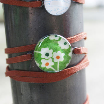Retro Flower Leather Wrap Bracelet - 1940s vintage fabric pea green sterling silver resin charm on brown strap band - vintage fabric jewelry