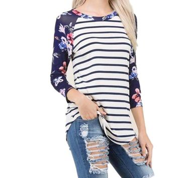 Women's 3/4 Raglan Sleeve Navy Floral and White/Black Stripe Baseball T-Shirt Top