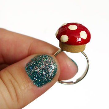 Hand Painted Mushroom Ring Red Mushroom Adjustable Ring