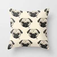 Smoking Pug Pattern Throw Pillow by Beth Zimmerman