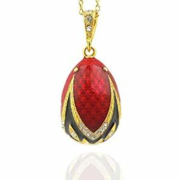 Russian Silver Gold Tone Red Black Egg Pendant 1 1/2 Inch