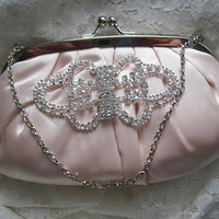 Light Blush Pink Satin Clutch with Beautiful Rhinestone Appliqué Accent Bride, Bridesmaid, Mother of the Bride Prom Evening Clutch