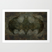 BATMAN, My Vintage Retro Version of that Iconic Symbol with dark background Art Print by Bruce Stanfield