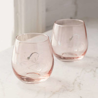Metallic Unicorn Stemless Wine Glass - Set Of 2 | Urban Outfitters