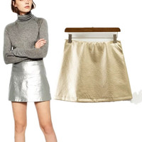 *Online Exclusive* Metallic Faux leather  High Waist A lined  mini Skirt