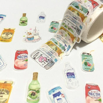 summer drinks soft drink die cut washi tape fruit juice iced drink can soda masking sticker tape party drink planner recipe icon decor gift
