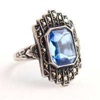 Vintage Genuine Art Deco Sterling Silver Ring -  Size 6 1/4 Blue Glass Stone & Marcasite Costume Jewelry / Signed Uncas