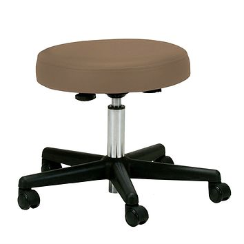 Adjustable Height Pneumatic Rolling Stool with Latte Brown Padded Seat