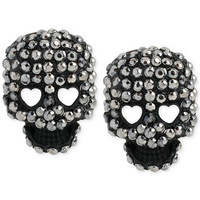 Betsey Johnson Black-Tone Crystal Skull Stud Earrings