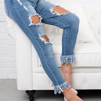 Stop And Go Distressed Jeans (Medium Wash)