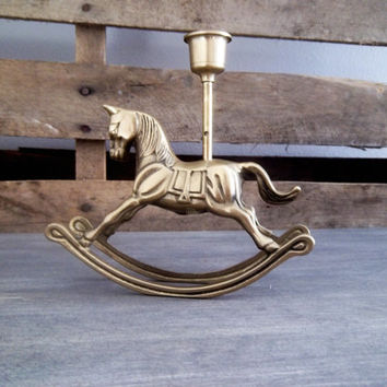 Decorative Brass Rocking Horse Candle Holder: Brass Horse, Brass Paperweight, office,  library decor